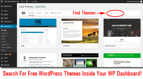 Find Free Themes Without Leaving Your Own WordPress Dashboard!
