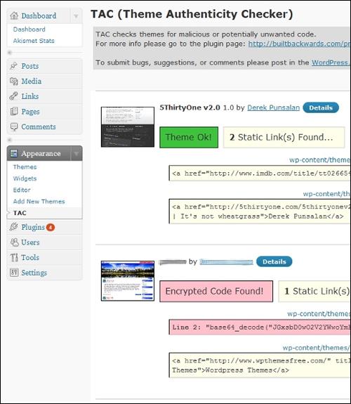 Theme Authenticity Checker (TAC) - Plugin
