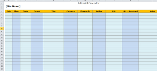 Editorial Content Template Created With Spreadsheet